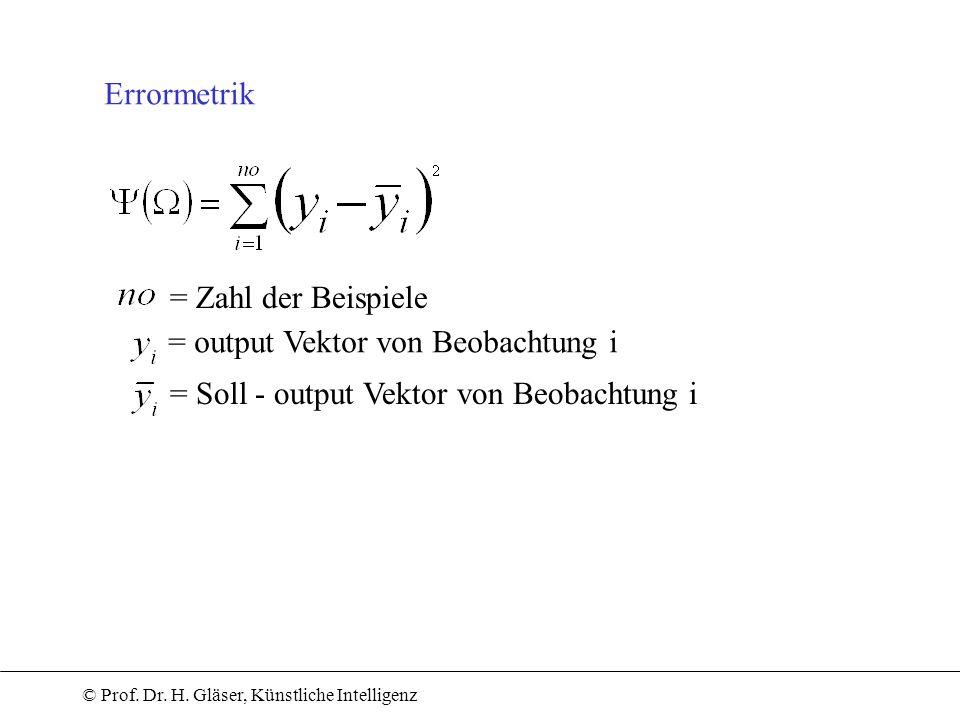 © Prof. Dr. H. Gläser, Künstliche Intelligenz Errormetrik = Zahl der Beispiele = output Vektor von Beobachtung i = Soll - output Vektor von Beobachtun