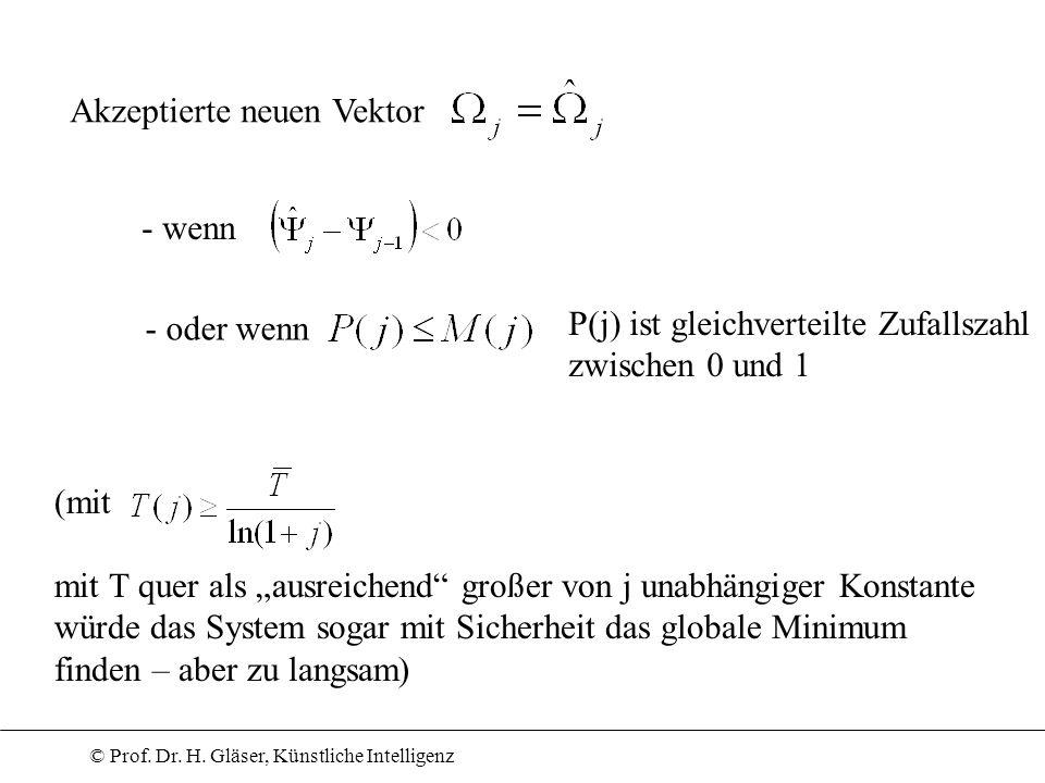 © Prof. Dr. H. Gläser, Künstliche Intelligenz Akzeptierte neuen Vektor - wenn - oder wenn P(j) ist gleichverteilte Zufallszahl zwischen 0 und 1 (mit m