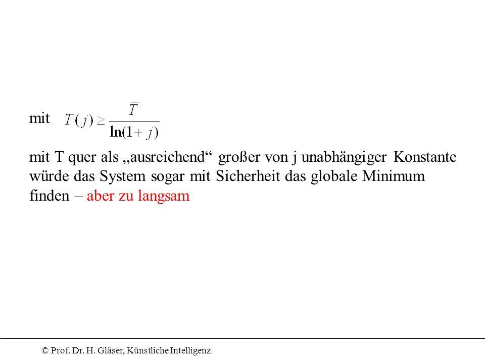 © Prof. Dr. H. Gläser, Künstliche Intelligenz mit mit T quer als ausreichend großer von j unabhängiger Konstante würde das System sogar mit Sicherheit