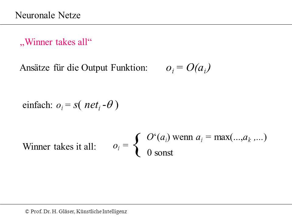 © Prof. Dr. H. Gläser, Künstliche Intelligenz Neuronale Netze Winner takes all Ansätze für die Output Funktion: einfach: o i = s( net i - ) o i = O(a