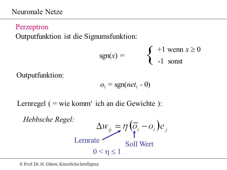© Prof. Dr. H. Gläser, Künstliche Intelligenz Neuronale Netze Perzeptron Outputfunktion ist die Signumsfunktion: sgn(x) = { +1 wenn x 0 -1 sonst Outpu