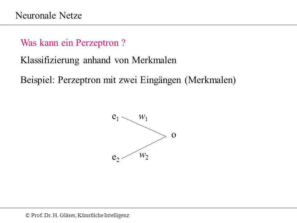 © Prof. Dr. H. Gläser, Künstliche Intelligenz Neuronale Netze Was kann ein Perzeptron ? Beispiel: Perzeptron mit zwei Eingängen (Merkmalen) Klassifizi