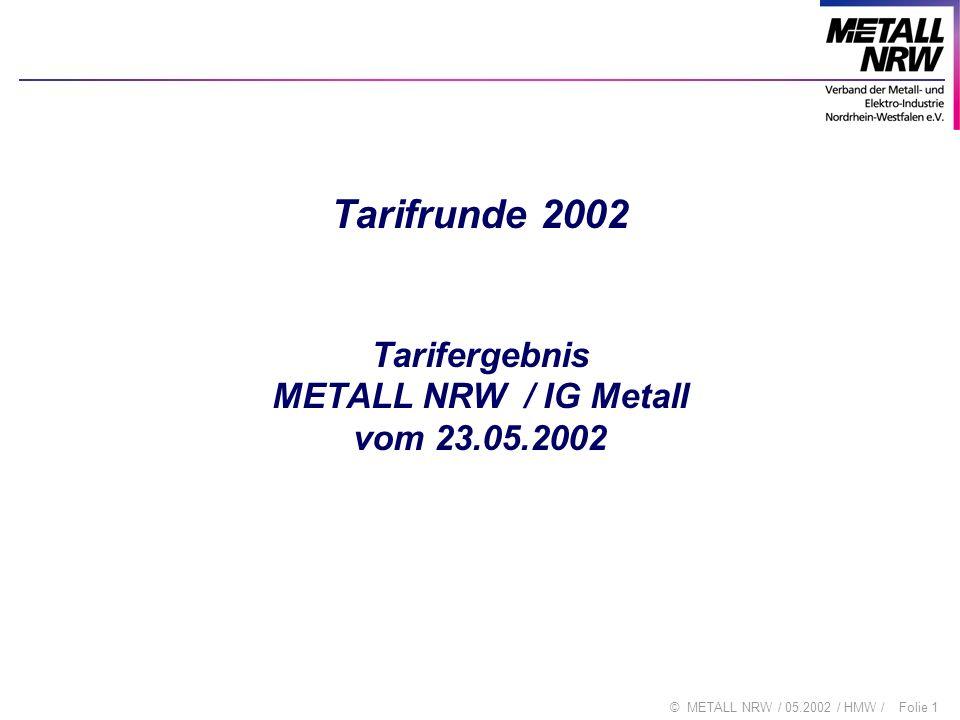 Folie 1© METALL NRW / 05.2002 / HMW / Tarifrunde 2002 Tarifergebnis METALL NRW / IG Metall vom 23.05.2002