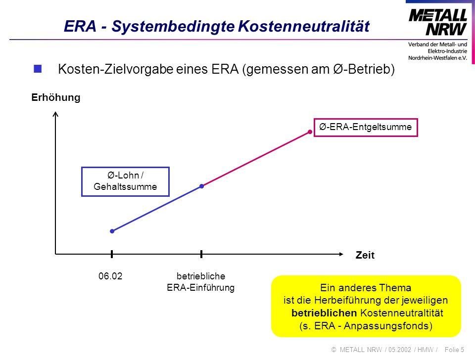 Folie 6© METALL NRW / 05.2002 / HMW / ERA - Strukturkomponente 1 (Tab 1) Ziel / Wirkungsweise auf Tabellen Die ERA-Linie in Ba-Wü liegt (um dort festgelegte 2,79 %) über der heutigen Entgeltlinie, für NRW wird diese Zahl angenommen Deshalb wird die heutige Linie nicht um die volle Erhöhung von 4 % angehoben, sondern ein Teil der Erhöhung 2002 (= 0,9 %) wird nur als Einmalzahlung ausgezahlt Die nächste tabellenwirksame Erhöhung 2003 um 2,6 % setzt auf den Tabellen 2002 (103,1 % von 2001) auf Damit sind die Tabellenwerte während der Laufzeit nur um (3,1 + weitere 2,6% =) 5,78 % gestiegen (statt 4,0 + weitere 3,1 = 7,2 %), mithin um ca.