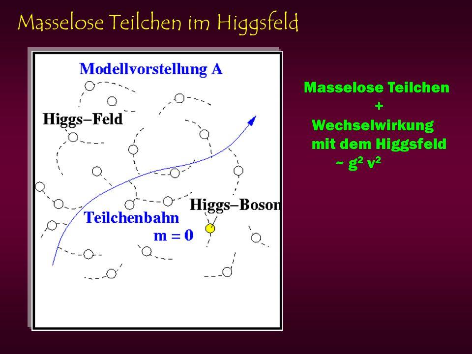 Masselose Teilchen im Higgsfeld Masselose Teilchen + Wechselwirkung mit dem Higgsfeld ~ g 2 v 2