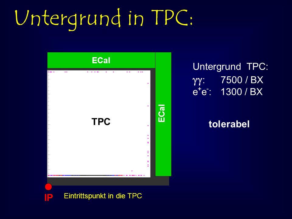 Untergrund in TPC: ECal IP Eintrittspunkt in die TPC TPC Untergrund TPC: : 7500 / BX e + e - : 1300 / BX tolerabel