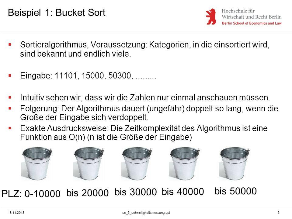 16.11.2013se_3_schnelligkeitsmessung.ppt3 Beispiel 1: Bucket Sort Sortieralgorithmus, Voraussetzung: Kategorien, in die einsortiert wird, sind bekannt