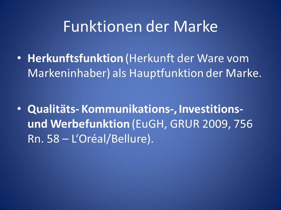 Funktionen der Marke Herkunftsfunktion (Herkunft der Ware vom Markeninhaber) als Hauptfunktion der Marke. Qualitäts- Kommunikations-, Investitions- un