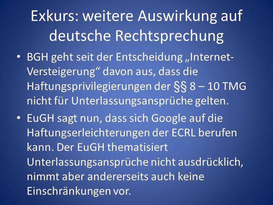 Exkurs: weitere Auswirkung auf deutsche Rechtsprechung BGH geht seit der Entscheidung Internet- Versteigerung davon aus, dass die Haftungsprivilegieru
