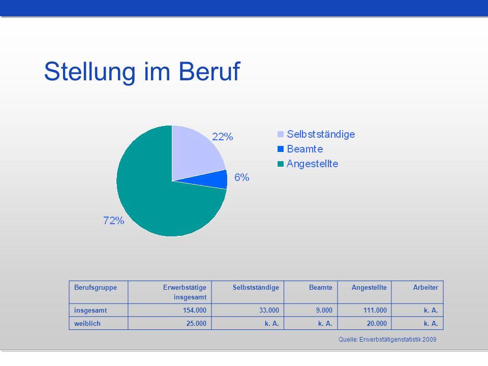 Stellung im Beruf Quelle: Erwerbstätigenstatistik 2009 BerufsgruppeErwerbstätige insgesamt SelbstständigeBeamteAngestellteArbeiter insgesamt154.00033.