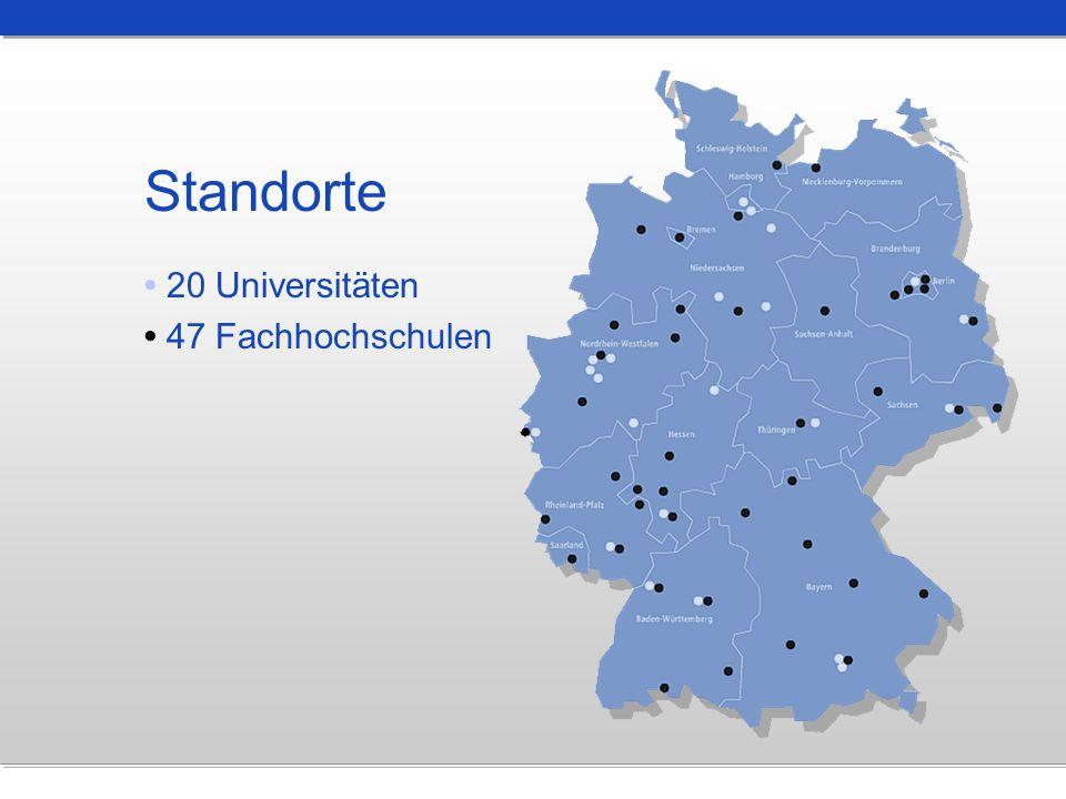 Standorte 20 Universitäten 47 Fachhochschulen