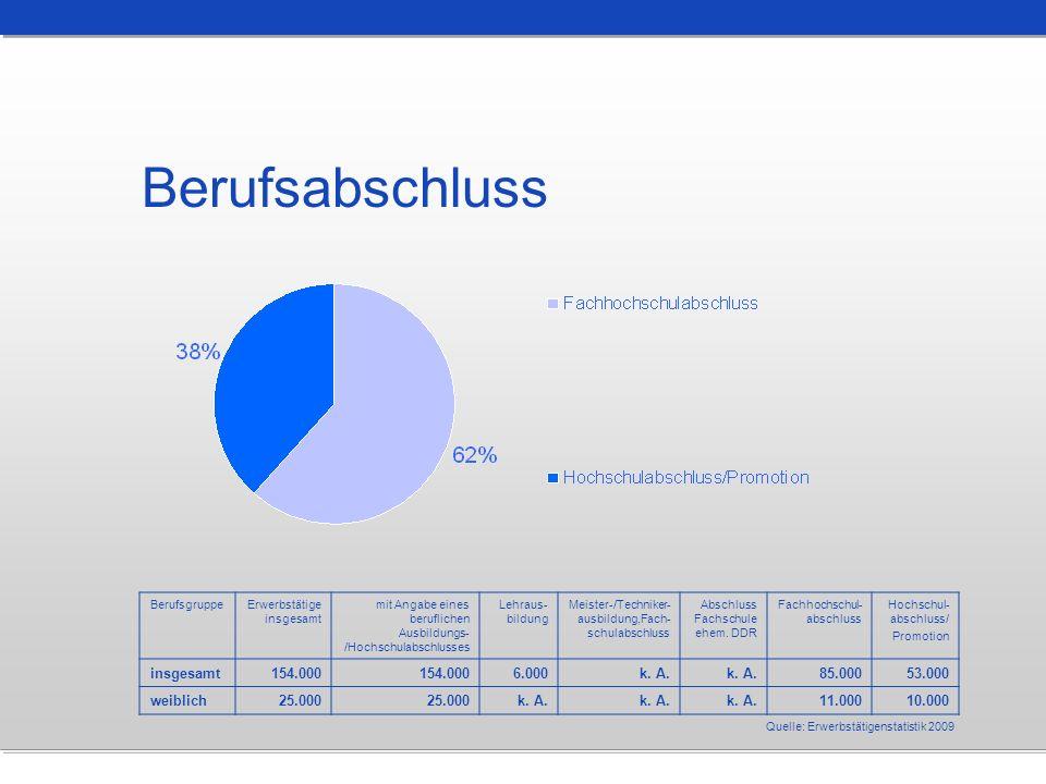 Berufsabschluss Quelle: Erwerbstätigenstatistik 2009 BerufsgruppeErwerbstätige insgesamt mit Angabe eines beruflichen Ausbildungs- /Hochschulabschluss