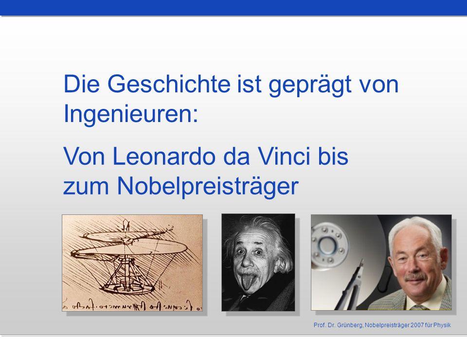 Die Geschichte ist geprägt von Ingenieuren: Von Leonardo da Vinci bis zum Nobelpreisträger Prof. Dr. Grünberg, Nobelpreisträger 2007 für Physik