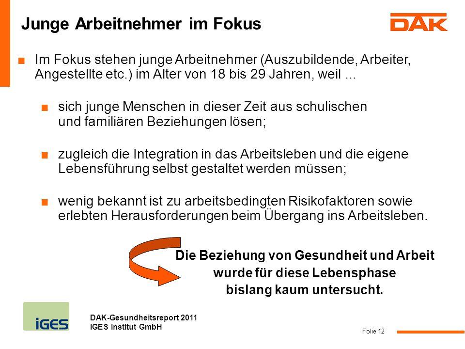 DAK-Gesundheitsreport 2011 IGES Institut GmbH Folie 12 Junge Arbeitnehmer im Fokus Im Fokus stehen junge Arbeitnehmer (Auszubildende, Arbeiter, Angest