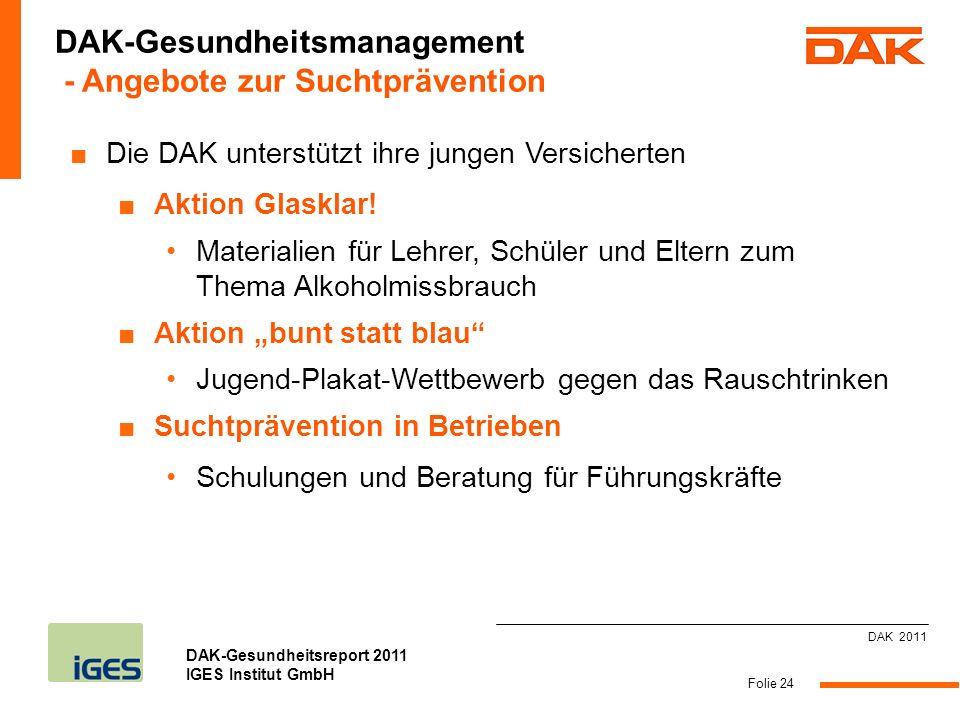 DAK-Gesundheitsreport 2011 IGES Institut GmbH Folie 24 Die DAK unterstützt ihre jungen Versicherten Aktion Glasklar! Materialien für Lehrer, Schüler u