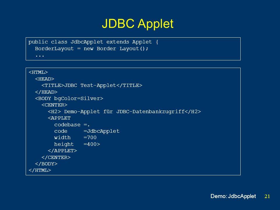 21 JDBC Applet JDBC Test-Applet Demo-Applet für JDBC-Datenbankzugriff <APPLET codebase =. code =JdbcApplet width =700 height =400> public class JdbcAp