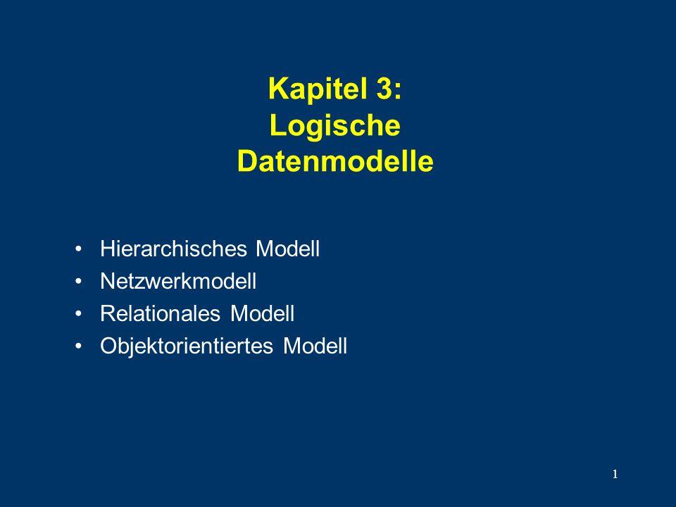 1 Kapitel 3: Logische Datenmodelle Hierarchisches Modell Netzwerkmodell Relationales Modell Objektorientiertes Modell