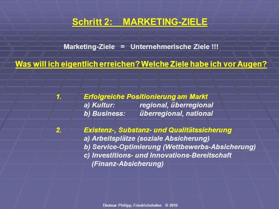Dietmar Philipp, Friedrichshafen © 2010 Schritt 2: MARKETING-ZIELE Marketing-Ziele = Unternehmerische Ziele !!! Was will ich eigentlich erreichen? Wel