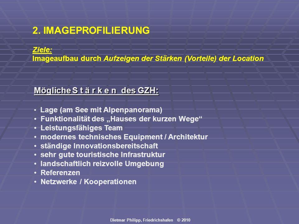 Dietmar Philipp, Friedrichshafen © 2010 2. IMAGEPROFILIERUNG Ziele: Imageaufbau durch Aufzeigen der Stärken (Vorteile) der Location Mögliche S t ä r k