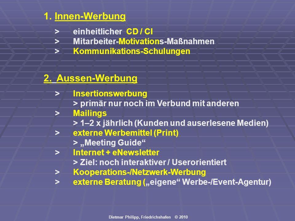 Dietmar Philipp, Friedrichshafen © 2010 1.Innen-Werbung > einheitlicher CD / CI >Mitarbeiter-Motivations-Maßnahmen >Kommunikations-Schulungen 2. Ausse
