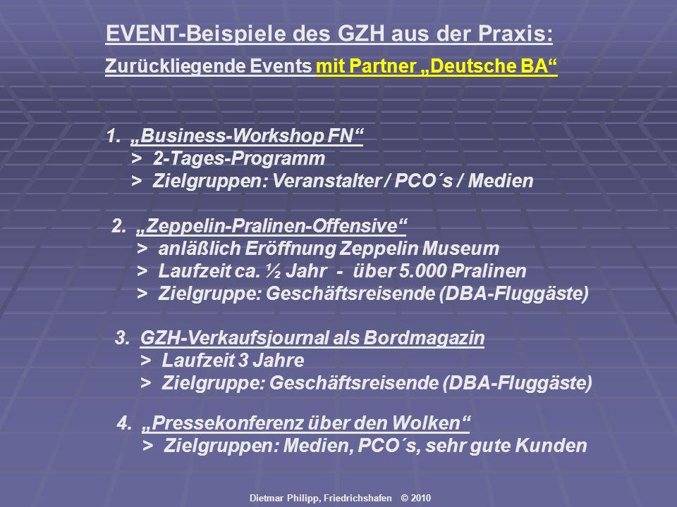 Dietmar Philipp, Friedrichshafen © 2010 EVENT-Beispiele des GZH aus der Praxis: 1.Business-Workshop FN > 2-Tages-Programm > Zielgruppen: Veranstalter