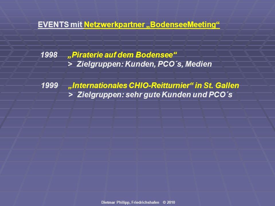 Dietmar Philipp, Friedrichshafen © 2010 EVENTS mit Netzwerkpartner BodenseeMeeting 1998Piraterie auf dem Bodensee > Zielgruppen: Kunden, PCO´s, Medien