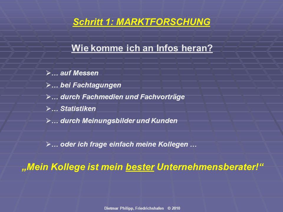 Dietmar Philipp, Friedrichshafen © 2010 Wie komme ich an Infos heran? Mein Kollege ist mein bester Unternehmensberater! … auf Messen … bei Fachtagunge
