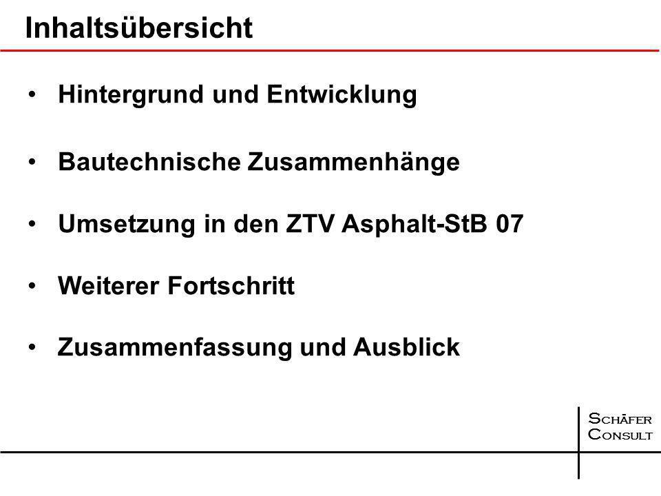 S chäfer C onsult Inhaltsübersicht Hintergrund und Entwicklung Bautechnische Zusammenhänge Umsetzung in den ZTV Asphalt-StB 07 Weiterer Fortschritt Zusammenfassung und Ausblick