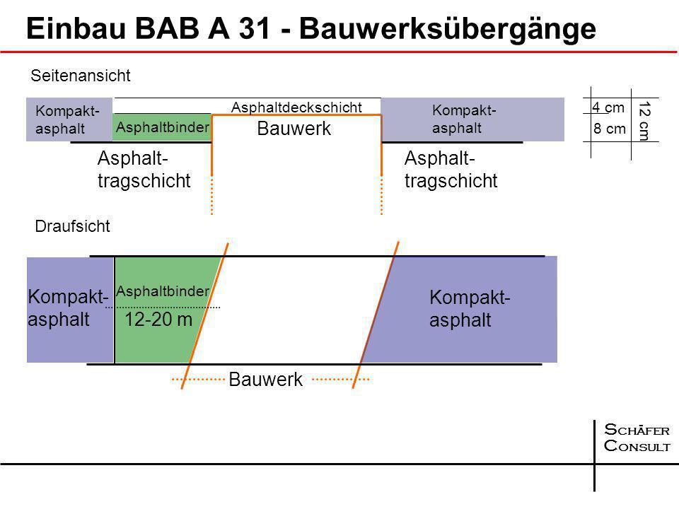 S chäfer C onsult Einbaukonzept BAB A 31 - Bauwerksübergänge Bauwerk 12-20 m Kompakt- asphalt Asphalt- tragschicht Bauwerk Asphaltbinder Asphaltdecksc