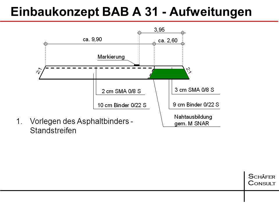S chäfer C onsult Einbaukonzept BAB A 31 - Aufweitungen bei Fahrbahnbreiten 11,50 m Standstreifen konventionell einbauen