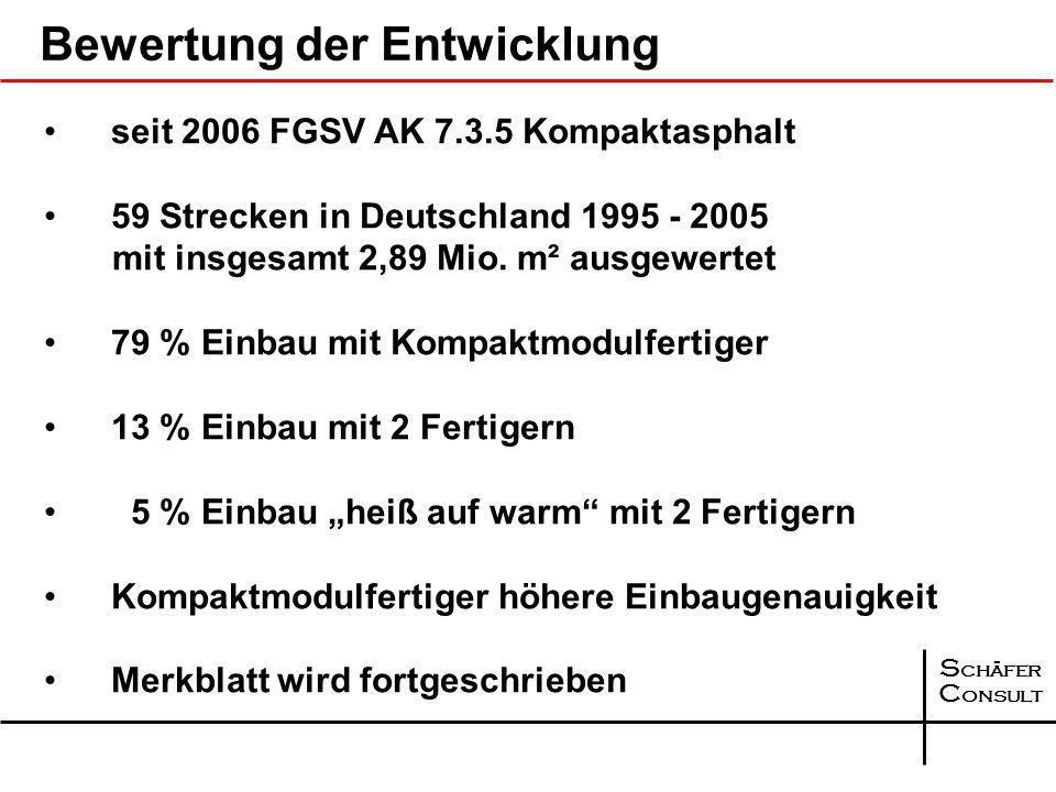 S chäfer C onsult Einbaukonzept BAB A 31 - Aufweitungen 1.Vorlegen des Asphaltbinders - Standstreifen 2.Einbau Kompaktasphalt - Hauptfahrbahn 3.Einbau