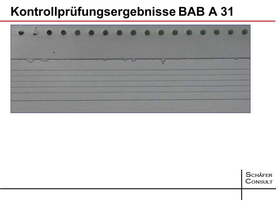 S chäfer C onsult Bohrkerne aus dem Querprofil an der Station 155+150, Richtungsfahrbahn Emden Asphalttragschicht Querprofil Kompaktasphalt BAB A 31 A