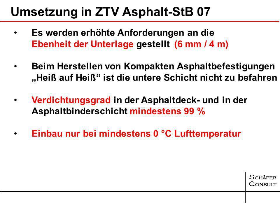 S chäfer C onsult Umsetzung in ZTV Asphalt-StB 07 Eine Kompakte Asphaltbefestigung Heiß auf Heiß besteht aus aus einer Asphaltdeckschicht und einer As