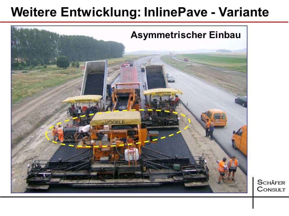 S chäfer C onsult Weitere Entwicklung ab 2006: InlinePave LKW BeschickerFertiger untere Schicht mit Übergabemodul Fertiger obere Schicht, fährt auf un