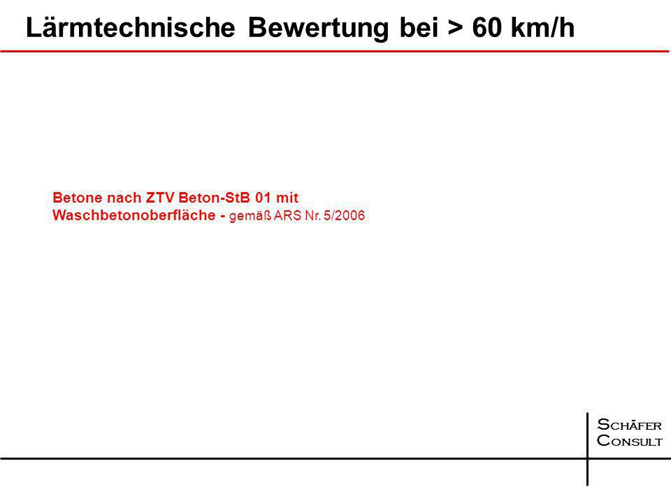 S chäfer C onsult Lärmtechnische Bewertung bei > 60 km/h Betone nach ZTV Beton-StB 01 mit Waschbetonoberfläche - gemäß ARS Nr.