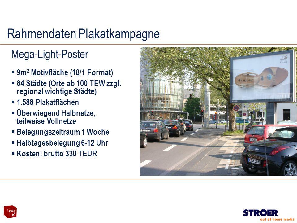 Rahmendaten Plakatkampagne Mega-Light-Poster 9m 2 Motivfläche (18/1 Format) 84 Städte (Orte ab 100 TEW zzgl.
