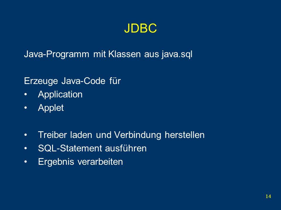 14 JDBC Java-Programm mit Klassen aus java.sql Erzeuge Java-Code für Application Applet Treiber laden und Verbindung herstellen SQL-Statement ausführen Ergebnis verarbeiten