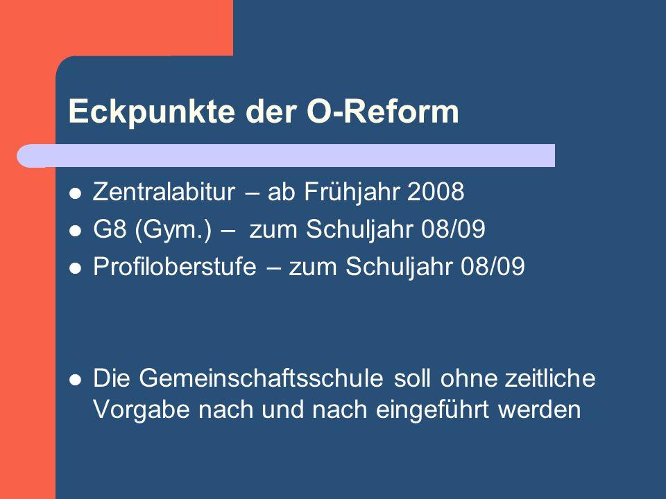 Eckpunkte der O-Reform Zentralabitur – ab Frühjahr 2008 G8 (Gym.) – zum Schuljahr 08/09 Profiloberstufe – zum Schuljahr 08/09 Die Gemeinschaftsschule soll ohne zeitliche Vorgabe nach und nach eingeführt werden