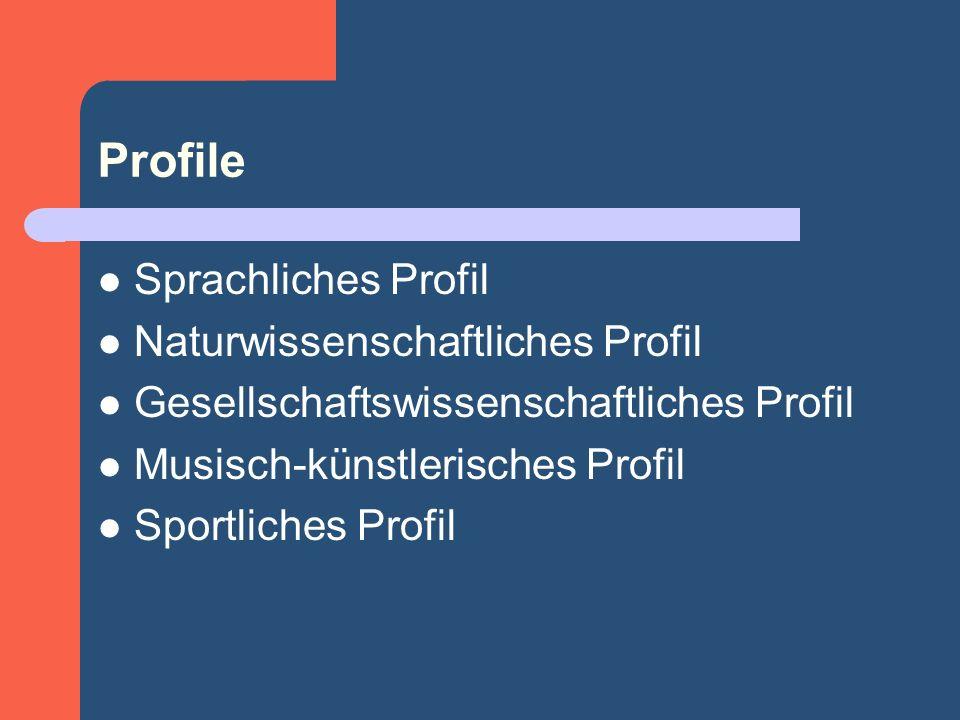 Profile Sprachliches Profil Naturwissenschaftliches Profil Gesellschaftswissenschaftliches Profil Musisch-künstlerisches Profil Sportliches Profil