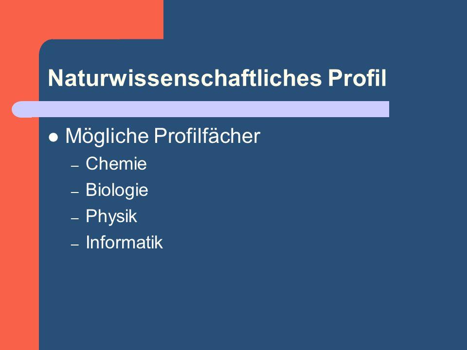 Naturwissenschaftliches Profil Mögliche Profilfächer – Chemie – Biologie – Physik – Informatik