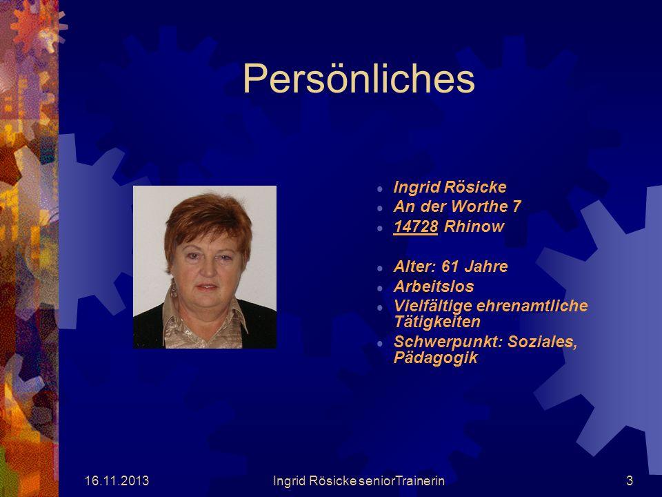 16.11.2013Ingrid Rösicke seniorTrainerin2 EFI PROJEKT Projekt Weg der Vernunft - Gegen Drogenmissbrauch und Gewalt im Havelland