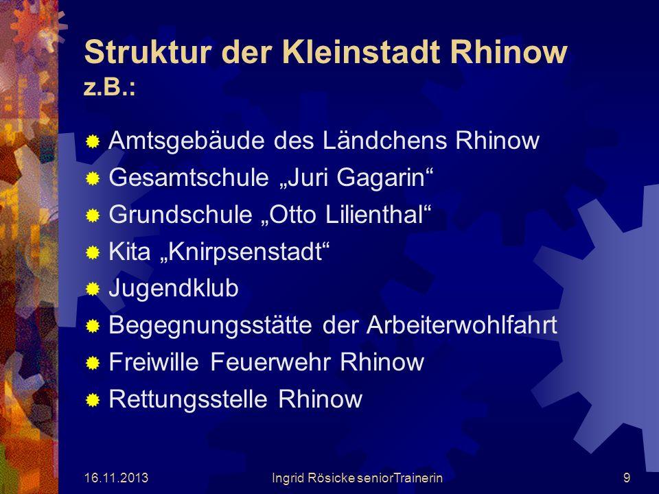 16.11.2013Ingrid Rösicke seniorTrainerin8 Das Amt Rhinow umfasst 15 Gemeinden mit einer Gesamteinwohnerzahl von 5438 Personen. Es handelt sich hierbei