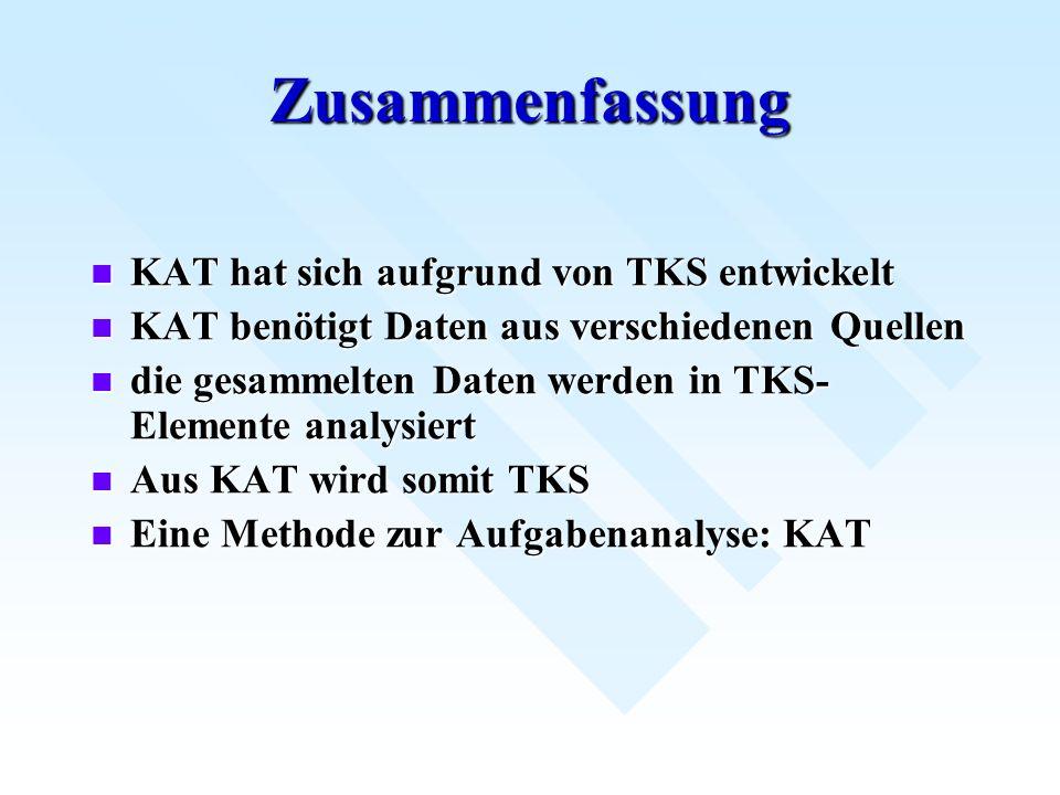 Zusammenfassung KAT hat sich aufgrund von TKS entwickelt KAT hat sich aufgrund von TKS entwickelt KAT benötigt Daten aus verschiedenen Quellen KAT ben