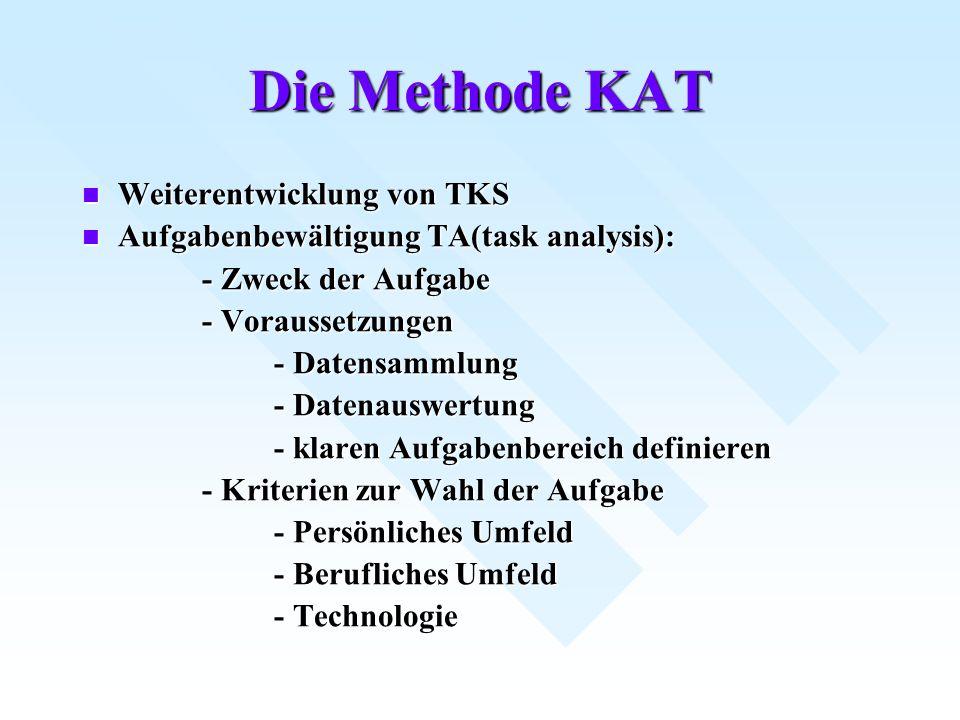 Die Methode KAT Weiterentwicklung von TKS Weiterentwicklung von TKS Aufgabenbewältigung TA(task analysis): Aufgabenbewältigung TA(task analysis): - Zw
