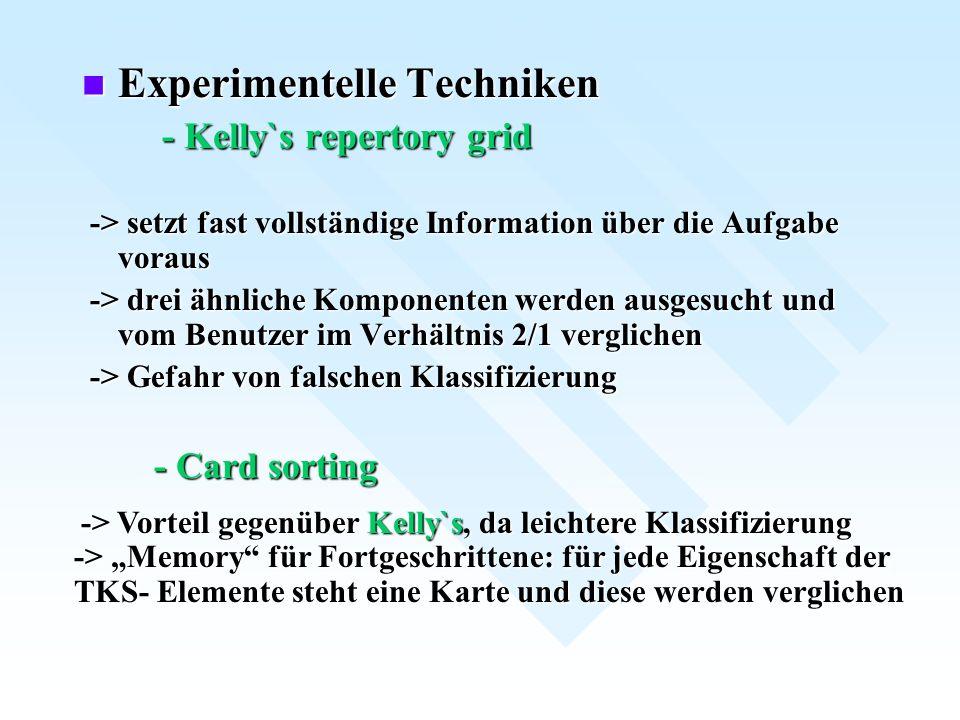 Experimentelle Techniken Experimentelle Techniken - Kelly`s repertory grid - Kelly`s repertory grid -> setzt fast vollständige Information über die Au