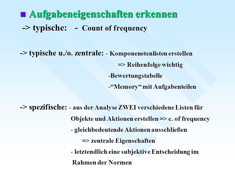 Aufgabeneigenschaften erkennen Aufgabeneigenschaften erkennen -> typische: - Count of frequency -> typische: - Count of frequency -> typische u./o. ze