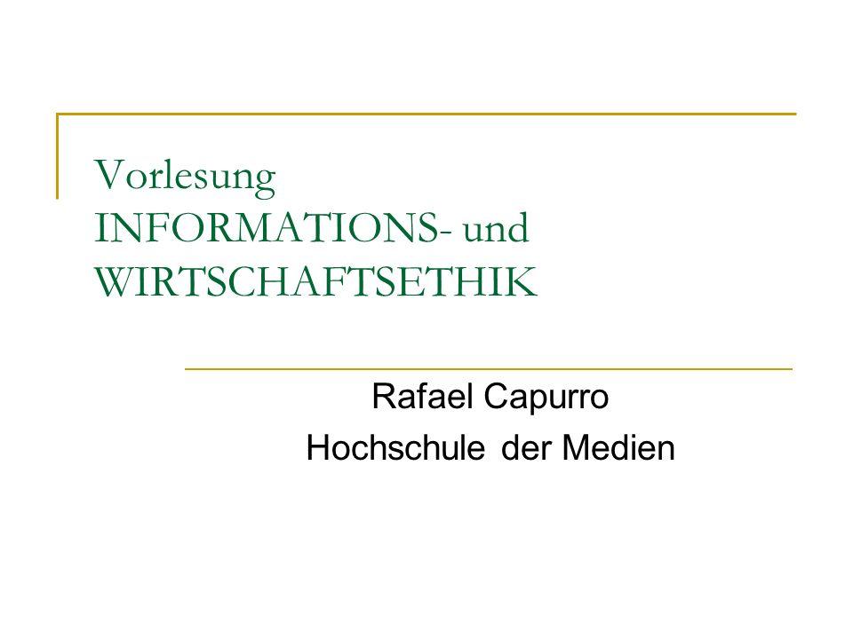 Rafael Capurro: Informations- und Wirtschaftsethik 172 3.3 Moralische Dimension von IS Datenschutz in Deutschland Recht auf informationelle Selbstbestimmung (15.12.1983) http://www.afs-rechtsanwaelte.de/volkszaehlung.htm http://www.afs-rechtsanwaelte.de/volkszaehlung.htm Wikipedia: http://de.wikipedia.org/wiki/Informationelle_Selbstbestimmung http://de.wikipedia.org/wiki/Informationelle_Selbstbestimmung Bundesdatenschutzgesetz (BDSG) http://www.netlaw.de/gesetze/bdsg.htm http://www.netlaw.de/gesetze/bdsg.htm Teledienstdatenschutzgesetz (TDDSG) http://www.edv- rechtsberatung.de/gesetzestexte/tddsg.htmhttp://www.edv- rechtsberatung.de/gesetzestexte/tddsg.htm Mediendienstestaatsvertrag (MDStV) http://www.datenschutz-berlin.de/recht/de/stv/mdstv.htm http://www.datenschutz-berlin.de/recht/de/stv/mdstv.htm Telekommunikationsgesetz (TKG) http://www.datenschutz- berlin.de/recht/de/rv/tk_med/tkg_de1.htmhttp://www.datenschutz- berlin.de/recht/de/rv/tk_med/tkg_de1.htm