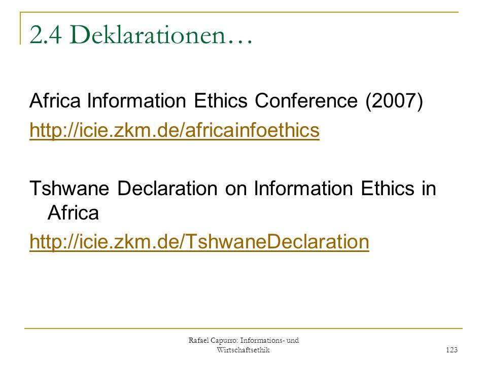 Rafael Capurro: Informations- und Wirtschaftsethik 123 2.4 Deklarationen… Africa Information Ethics Conference (2007) http://icie.zkm.de/africainfoeth