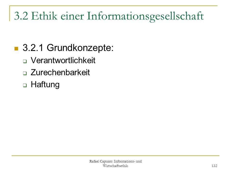 Rafael Capurro: Informations- und Wirtschaftsethik 132 3.2 Ethik einer Informationsgesellschaft 3.2.1 Grundkonzepte: Verantwortlichkeit Zurechenbarkei