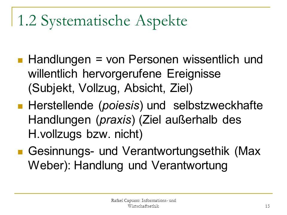 Rafael Capurro: Informations- und Wirtschaftsethik 15 1.2 Systematische Aspekte Handlungen = von Personen wissentlich und willentlich hervorgerufene E